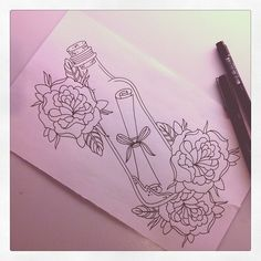 Roses And Bottle Tattoo Design Page
