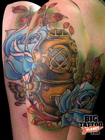 Roses And Diving Helmet Tattoos