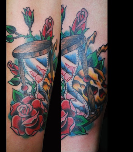Roses And Hour Glass Tattoos (2)
