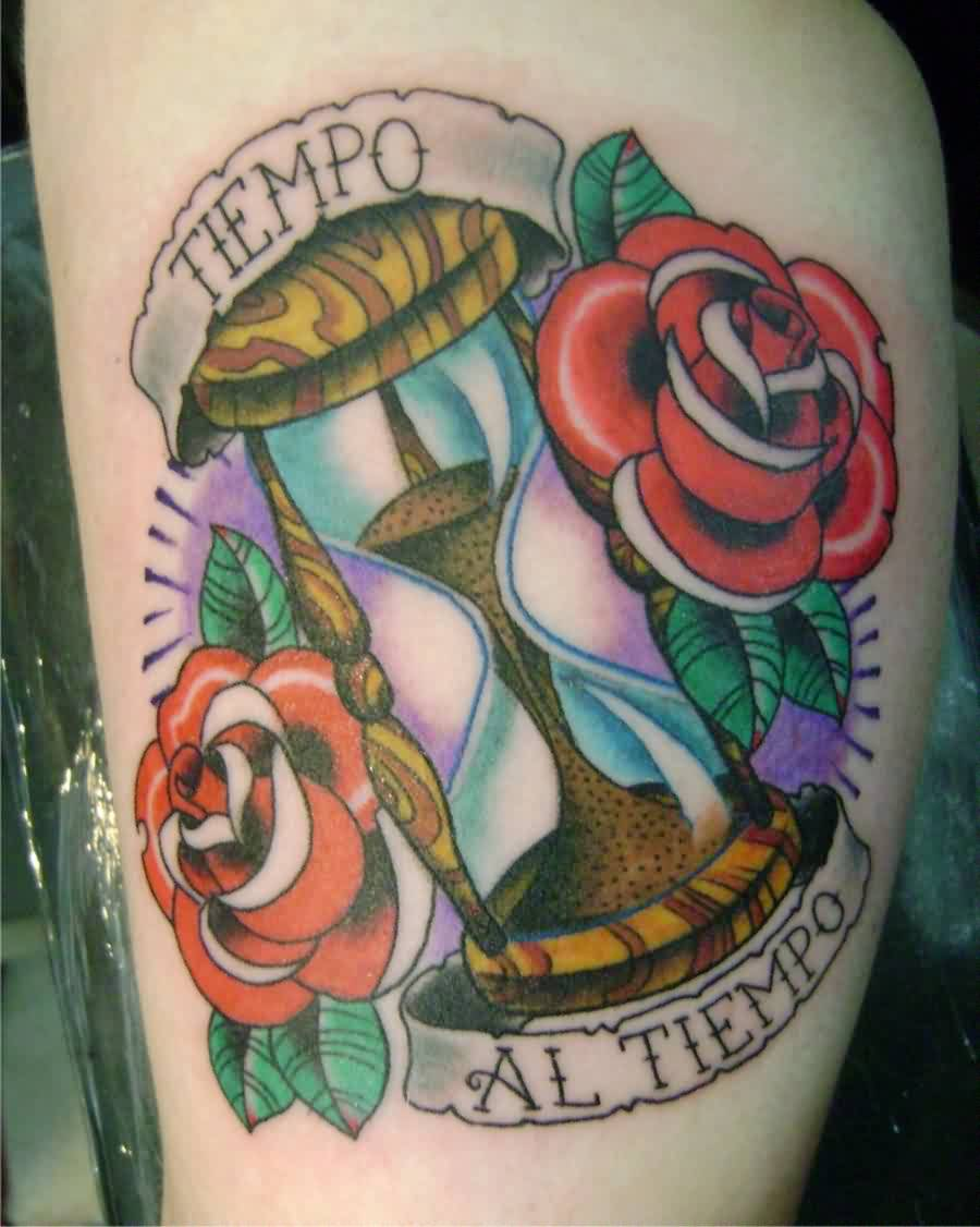 Roses And Hour Glass Tattoos (4)