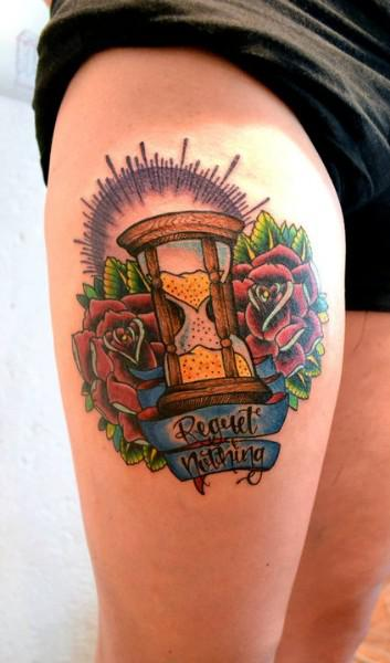 Roses And Hour Glass Tattoos On Thigh