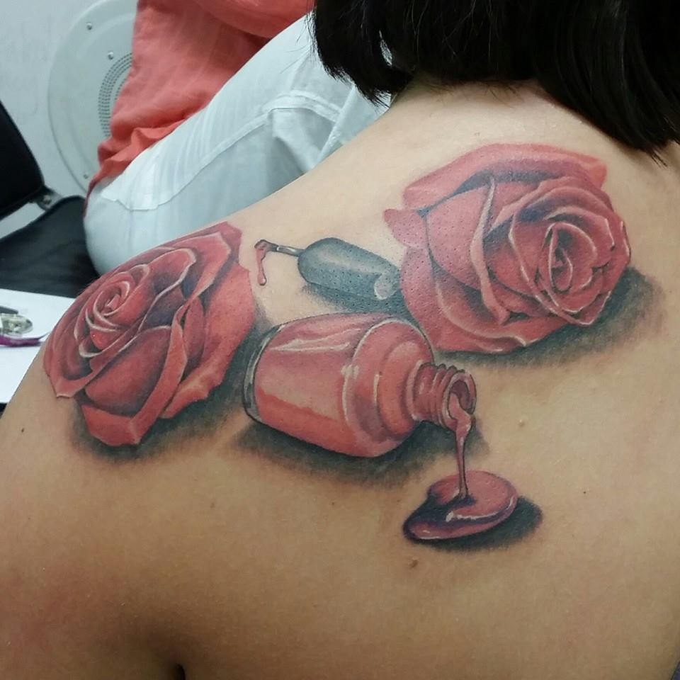 Roses And Nail Polish Bottle Portrait Tattoos For Women