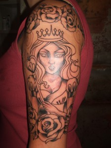 Roses And Queen Of Hearts Tattoos On Half Sleeve