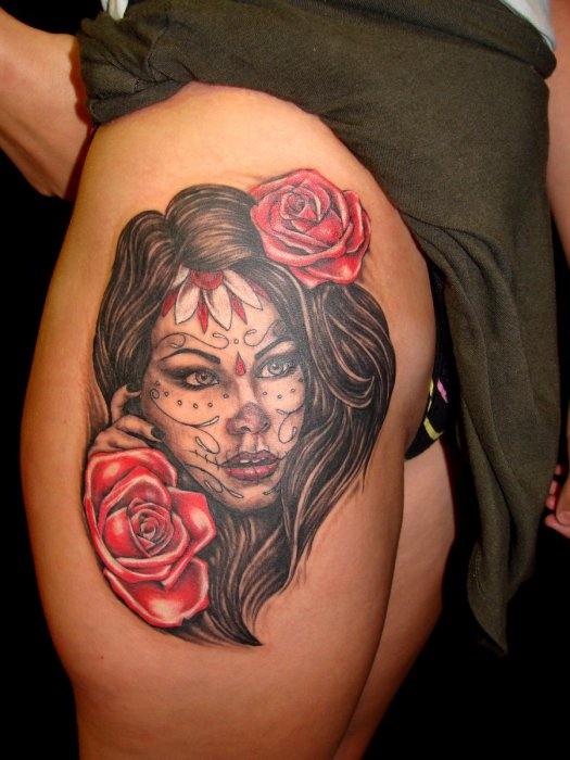 Roses And Sugar Skull Girl Portrait Tattoos On Thigh