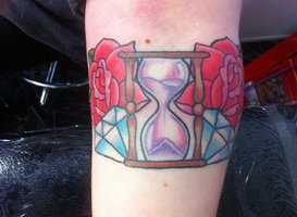 Roses Diamond And Hour Glass Tattoos