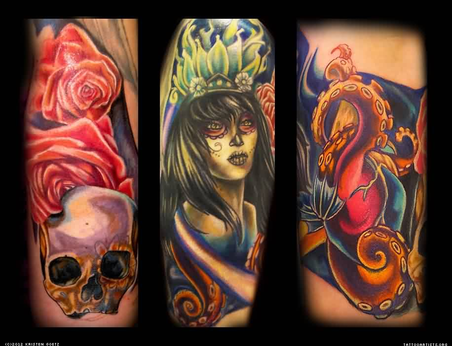Roses Skull Queen Tattoos