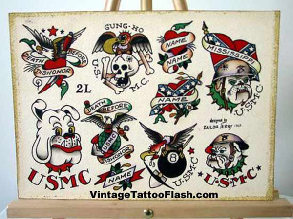 Sailor Jerry American Tattoos Sheet