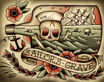Sailor's Grave Bottle Tattoo Flash (2)