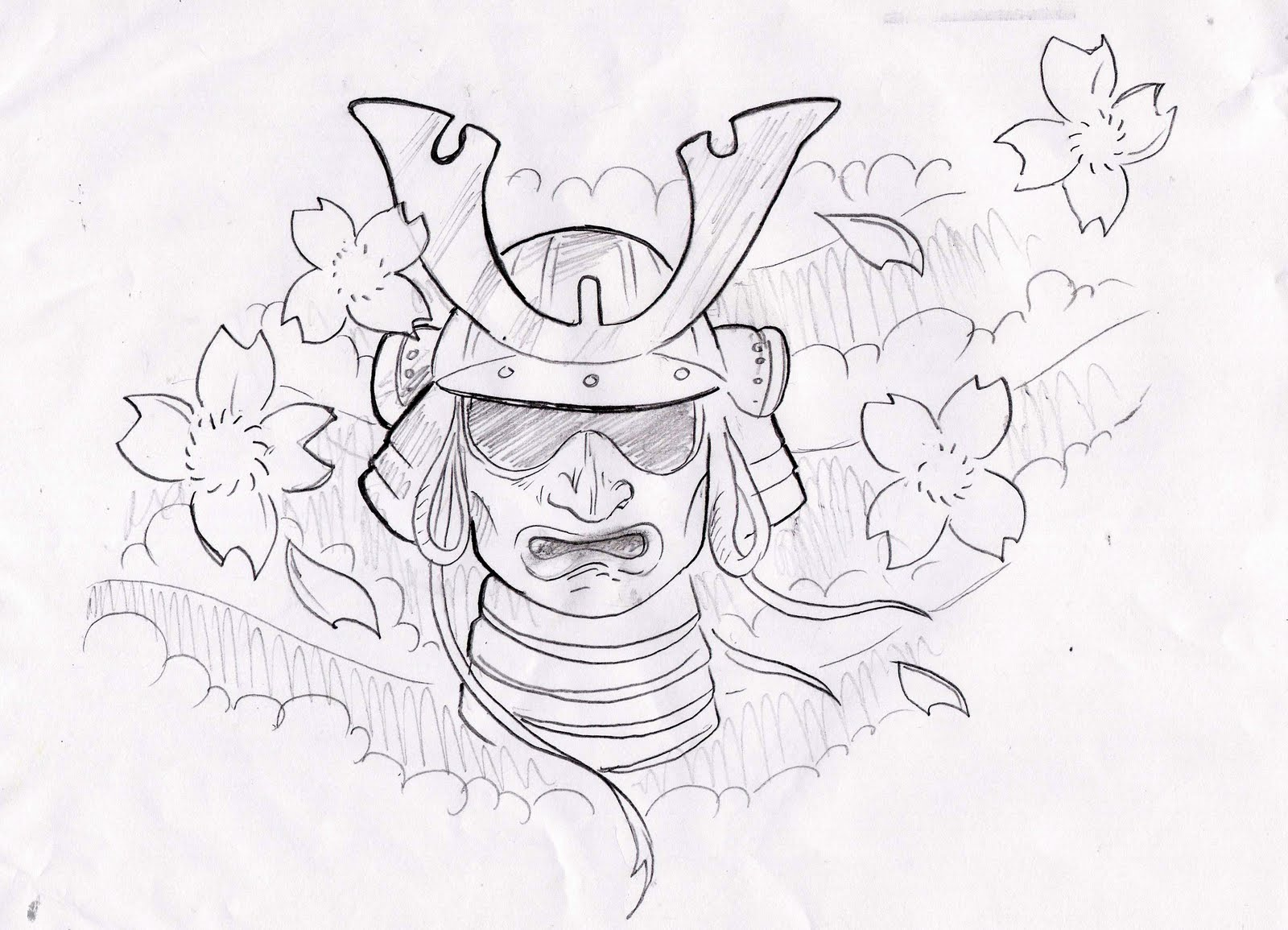 Samurai Helmet And Flower Tattoo Designs