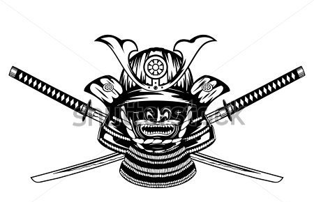 Samurai Helmet Menpo With Yodare Kake And Crossed Katanas Tattoo Design