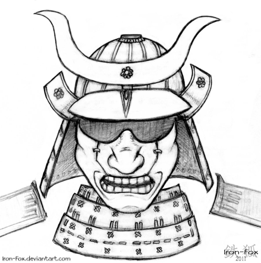 Samurai Helmet Tattoo Drawing