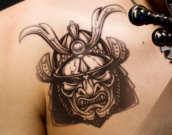 Samurai Helmet Temporary Tattoo