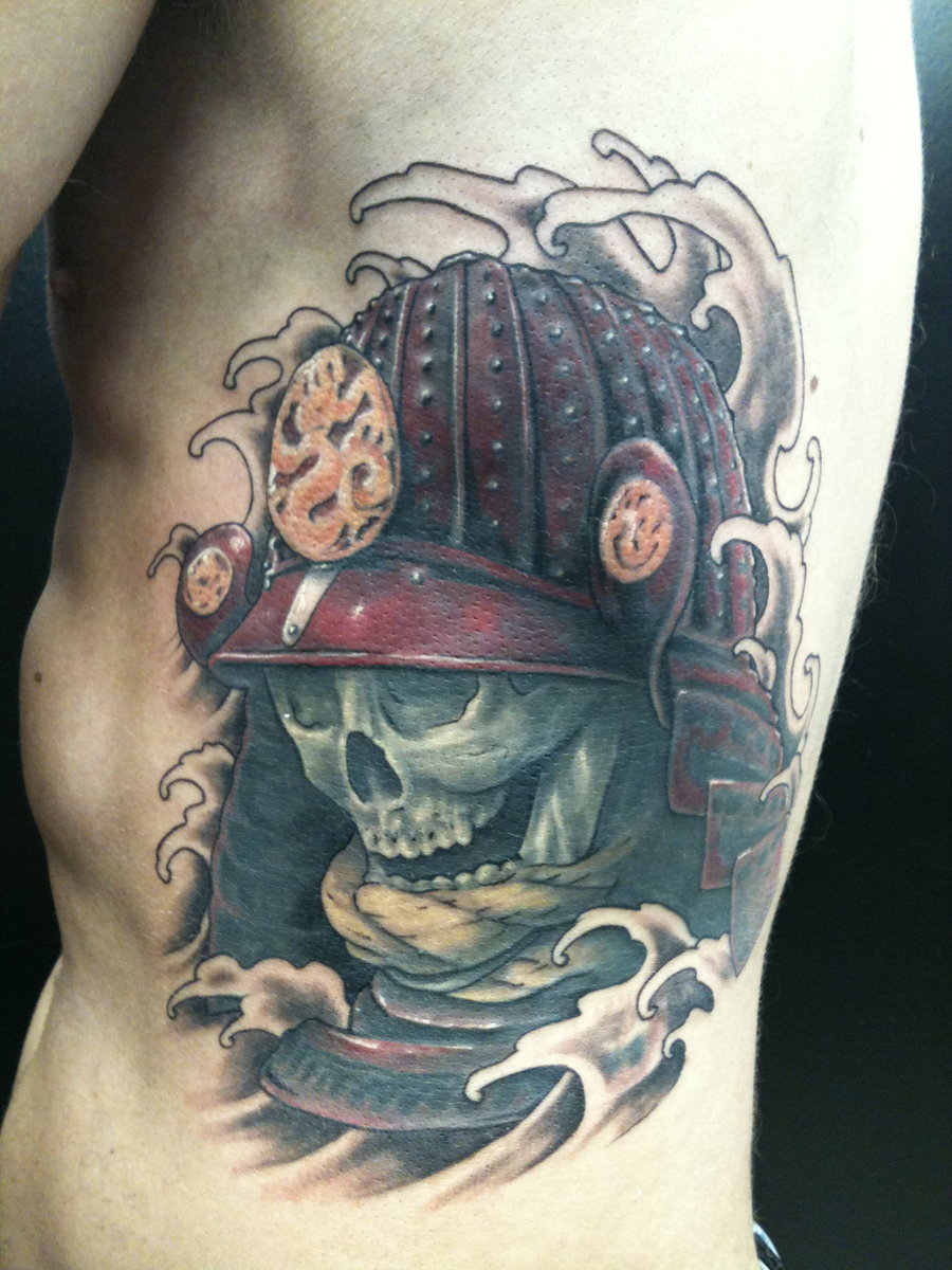 Samurai Skull And Red Helmet Tattoo On Ribs