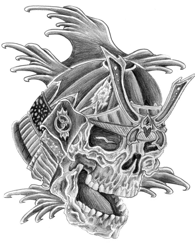 Samurai Skull Helmet And Waves Tattoo Design