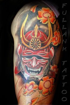 Samurai With Red-Golden Helmet Tattoo On Half Sleeve