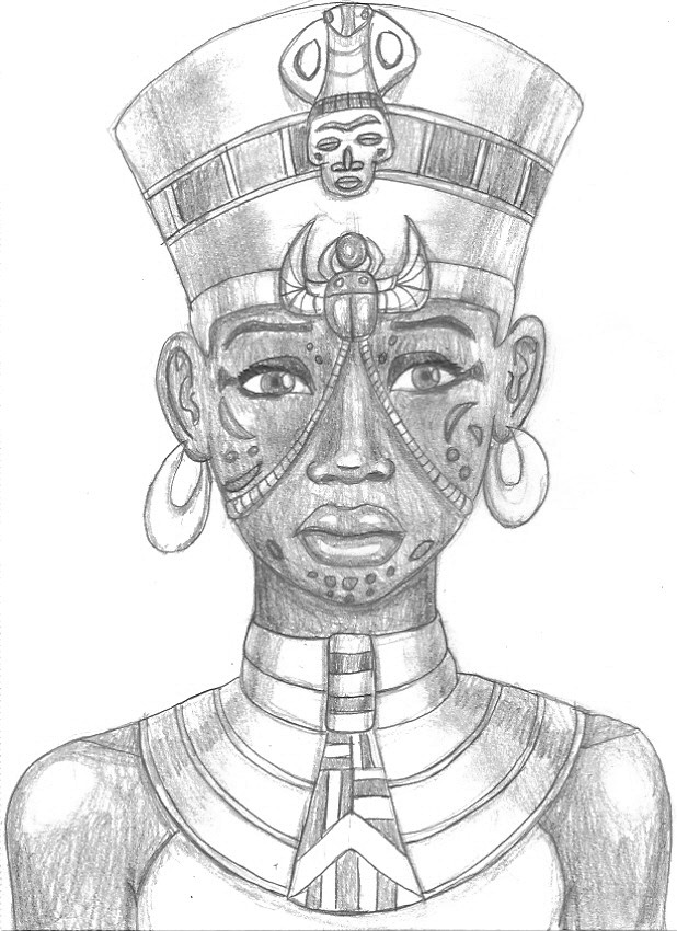 Scar Faced Egyptian Queen Tattoo Sketch