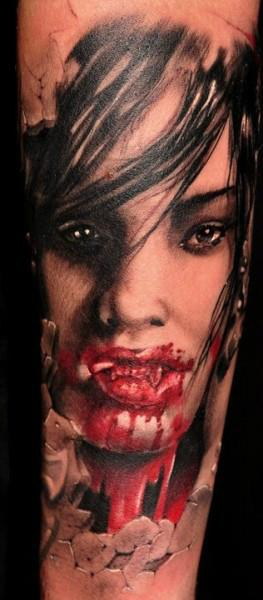 Scary Bleeding Vampire Portrait Tattoo