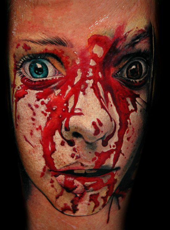 Scary Bloody Face Portrait Tattoo