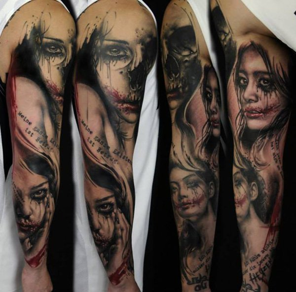 Scary Girl Portrait Tattoos On Sleeve