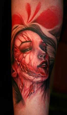 Scary Looking Face Portrait Tattoo