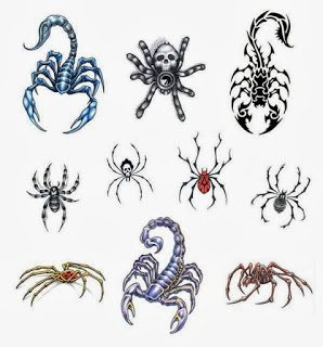 Scorpion And Spider Tattoos Set