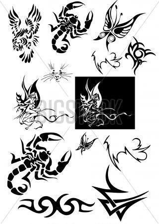 Scorpion Butterfly And Tribal Tattoos Set