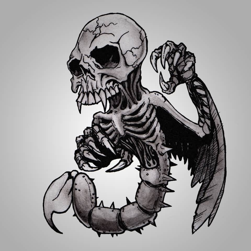 Scorpion Skull Tattoo Flash