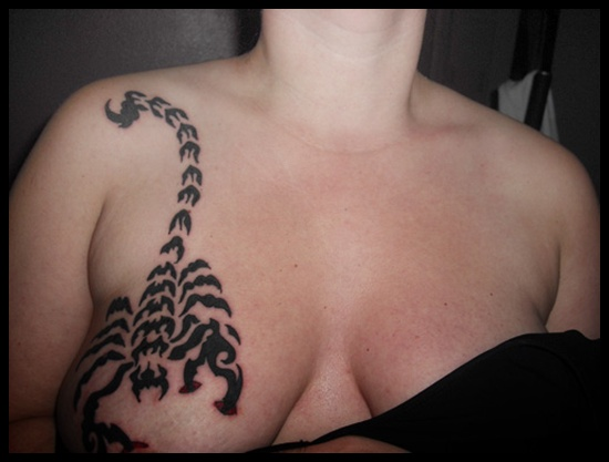 Scorpion Tattoo On Right Breast