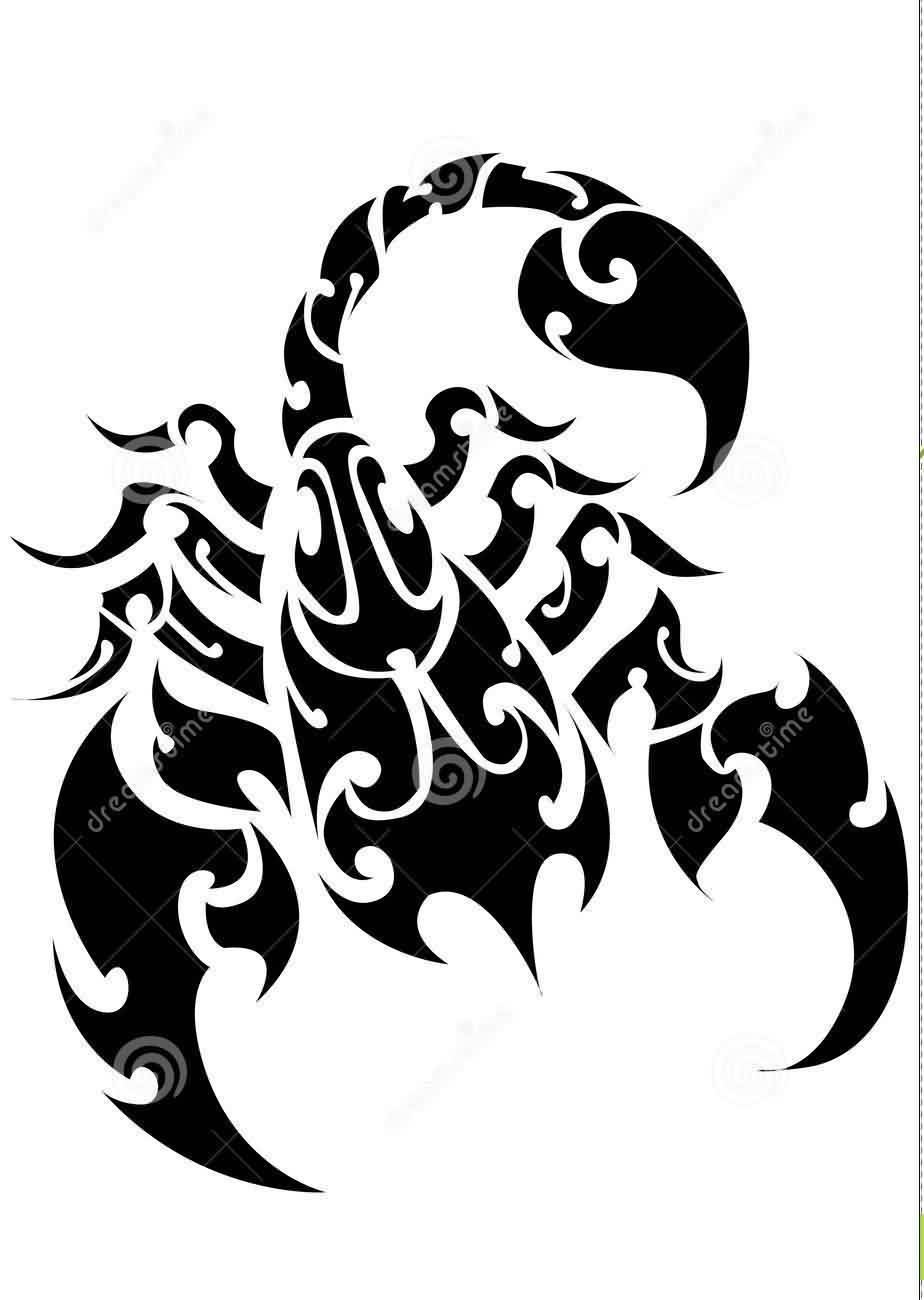 Scorpion Tribal Tattoo Design On White Background