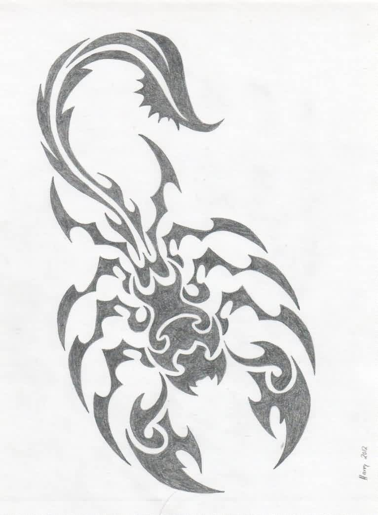 Scorpion Tribal Tattoo Drawing