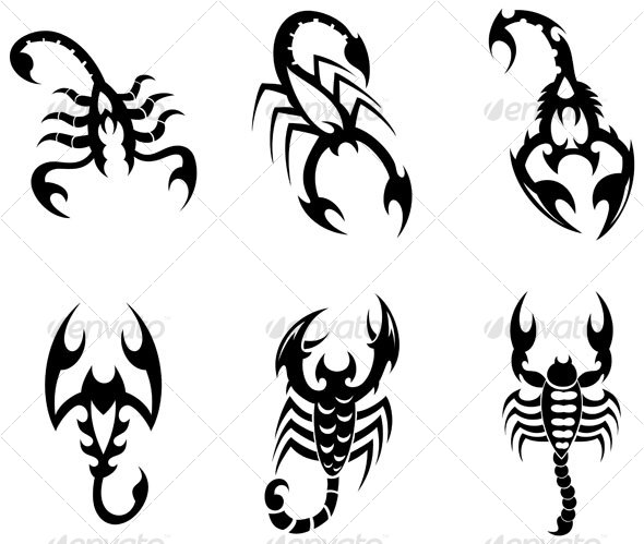 Scorpion Tribal Tattoos Set (3)