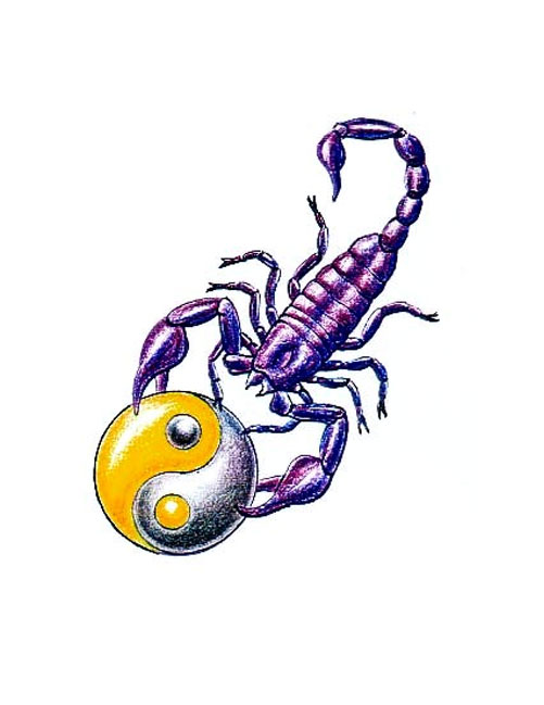 Scorpion With Yin Yang Tattoo Design