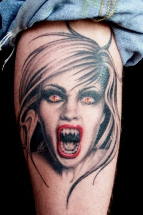 Screaming Vampire Portrait Tattoo