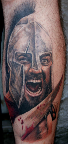 Screaming Warrior With Helmet Portrait Tattoo