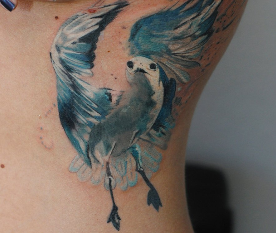 Seagull Watercolor Tattoo For Women