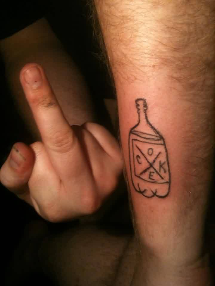 Self Tattoo Of A Coke Bottle