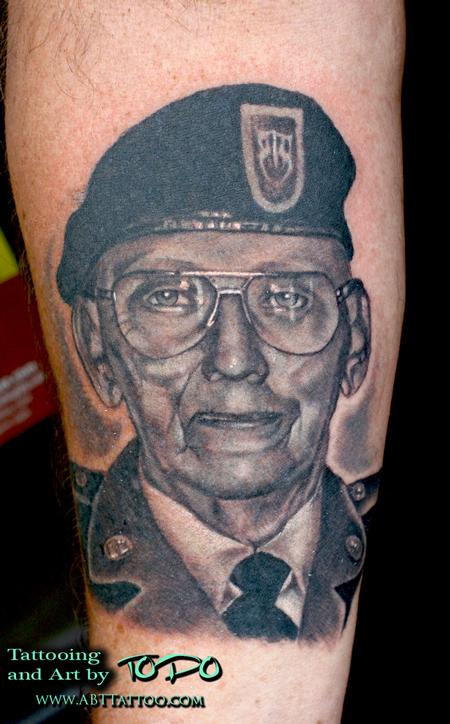 Senior Military Man Portrait Tattoo