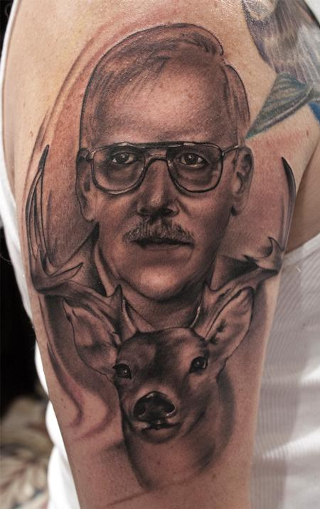 Senior People And Deer Portrait Tattoos On Arm