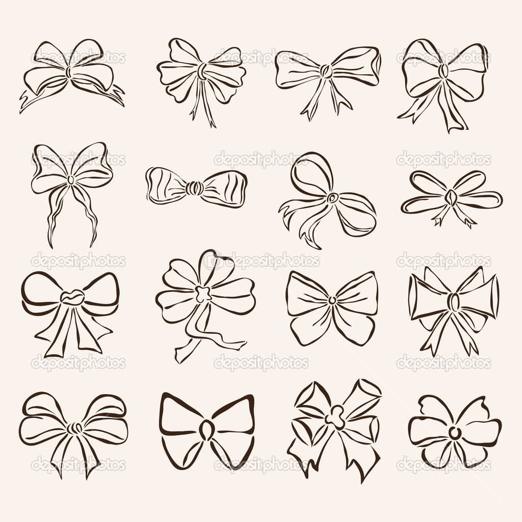 Set Of Ribbon Bow Tattoo Designs