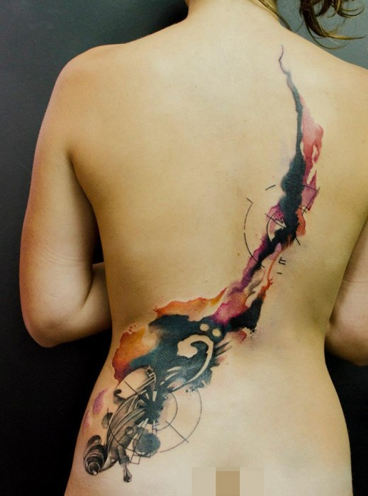 Sexy Back With Watecolor Tattoos