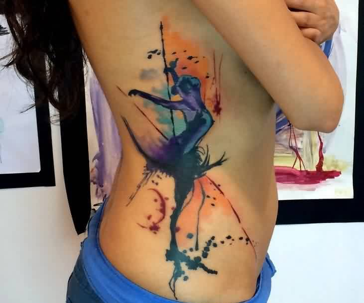 Sexy Watercolor Tattoos On Ribs