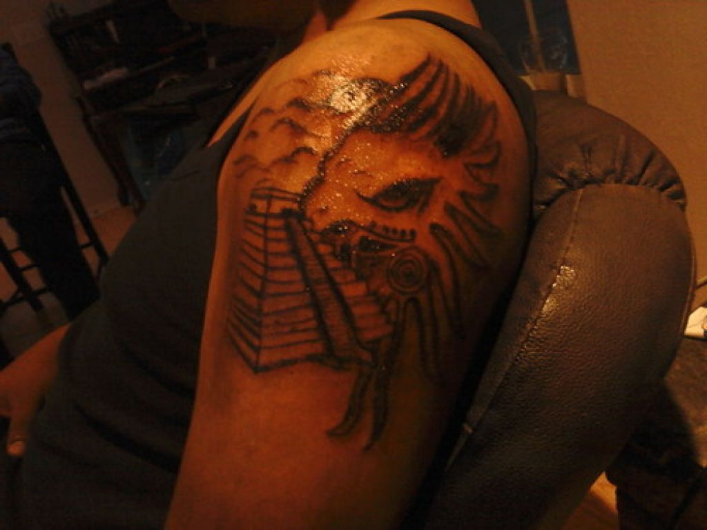 Shining Aztec Pyramid Tattoo On Shoulder