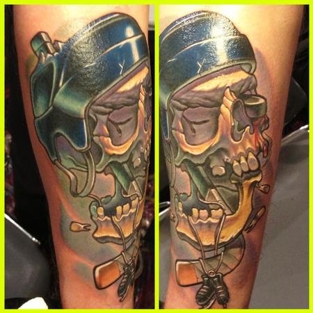Shining Skull Helmet Tattoos