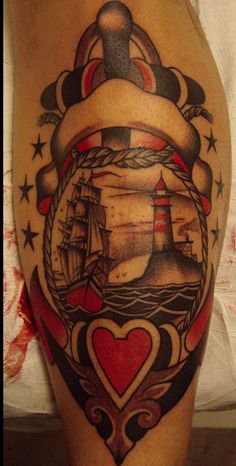Ship And Lighthouse In Anchor Heart Tattoos