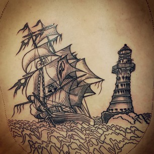 Ship And Lighthouse Tattoos Flash