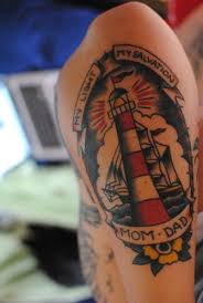Ship And Lightning Lighthouse Tattoo