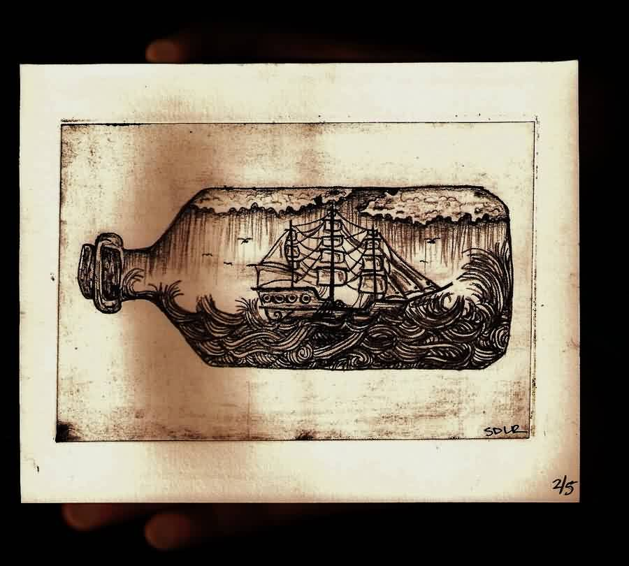 Ship In A Bottle Tattoo Photo