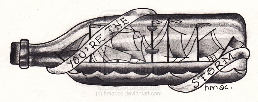 Ship In A Bottle Tattoo Version