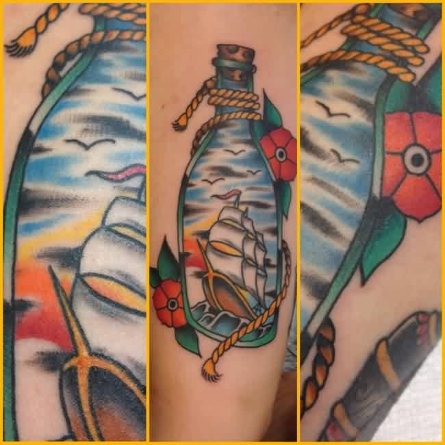 Ship In A Bottle Tattoos (2)