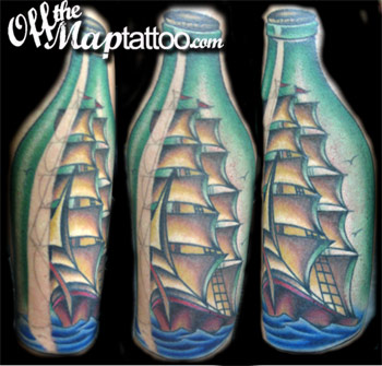 Ship In A Bottle Tattoos Image
